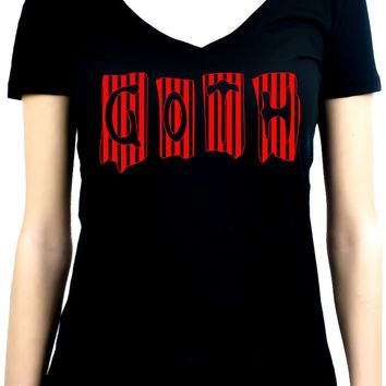 Black & Red Vertical Stripe GOTH Women's V-Neck Shirt Top Occult Clothing