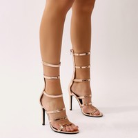 Mamba Knee High Strappy Heels in Rose Gold