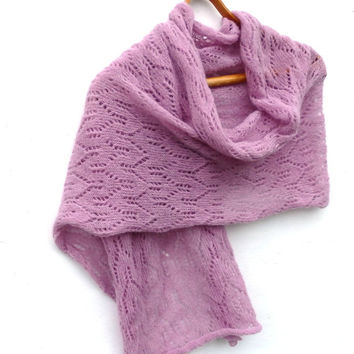 knitted mohair scarf, knit light purple lace shawl, bridesmaid shawl , knitting women wrap, knitting accessories, wedding shawl, stola