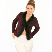 80s crop jacket by Jay Jacobs. Ostrich feather trim. Vintage burgundy jacket. Size Medium. Oxblood black. Brocade jacket