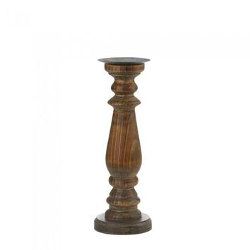 Tall Antique-Style Wooden Candle Holder