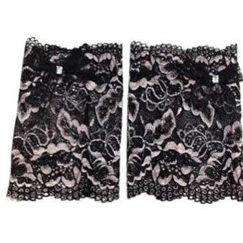 Black 2 tone Floral Scalloped Stretch Lace Black Bow Peek a Boo Boot Cuffs Lacey Boot Cuffs Boot Toppers