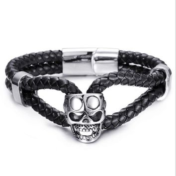 Men Bracelet 316L Stainless Steel Skull Head Bracelets Punk Black Woven Leather Bracelet Men's Retro Jewelry Friendship Bangle