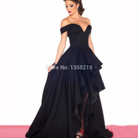 Fashion Design Elegant High low Front Short Back Long Prom Dresses 2016 Black Off the Shoulder Ruffled Puffy Evening Party Gowns