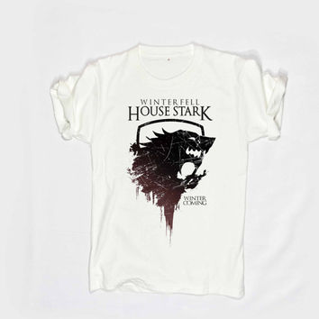game of thrones tshirt House Of starks shirt winter fell unisex size man and women S,M,L,XL,XXL,and 3XL White