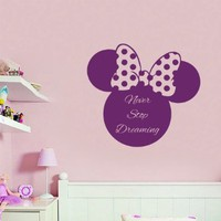 Wall Decals Vinyl Decal Sticker Home Interior Design Mural Mouse Head Quote Never Stop Dreaming Girl Boy Kids Nursery Baby Room Decor