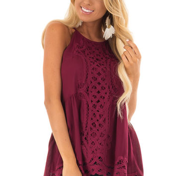 Dark Wine Tank Top with Crochet Front and Scalloped Hem