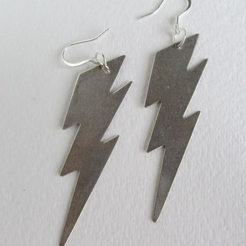 Sheet Metal Lightning Bolts on Sterling Silver Earrings