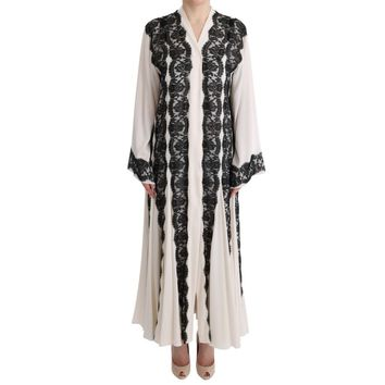 Dolce & Gabbana White Silk Floral Lace Kaftan Dress