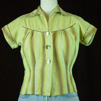 40s Blouse Yellow Ombre Cotton Vintage 1940s Short Sleeve Top Shirt Cropped S M