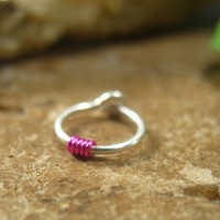 *Hoop Earring Colors Sterling Silver with Pink Cartilage Single
