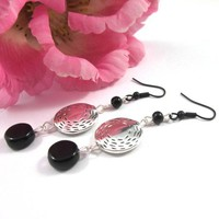 Silver pewter black coin bead earrings long dangling black ear wires
