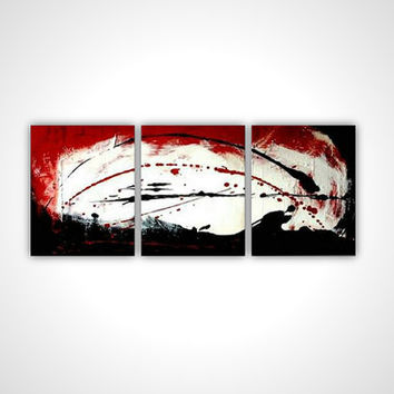 Large red painting - Red fine art - Red large painting - Red large art - Red large canvas painting - Red white black