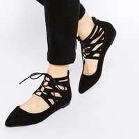 ASOS LEVEL UP Lace Up Ballets
