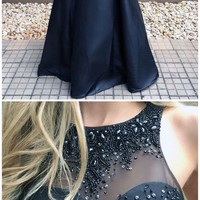 Hot Sale Beautiful Prom Dresses Ball Gown Prom Dresses Black Long Evening Dress G2965