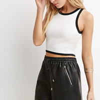Faux Leather Drawstring Shorts