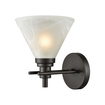 Pemberton 1-Light Vanity Lamp in Oil Rubbed Bronze with White Marbleized Glass