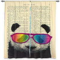 Window Curtains Unlined from DiaNoche Designs Artistic, Stylish, Unique, Decorative, Fun, Funky, Cool by Madame Memento Panda Bear Rainbow Sunglasses
