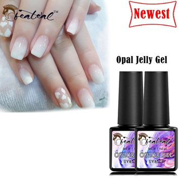Beateal 8ml Nude Color Gel Nail Polish Soak Off UV Opal Jelly Gel Nail Art Semi-Permanent French Effect Varnish Manicure Liquid