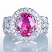 Vibrant STUNNING Rare Intensity Pink Sapphire and Diamond Ring