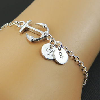 Anchor Bracelet. Sterling Silver Anchor Charm Bracelet. Sideways Anchor.Custom Initial Disc. Personalized Bracelet. Friendship. Sister.
