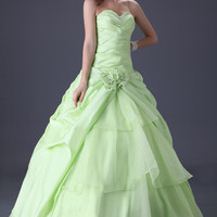 Green Off-Shoulder Beaded Ruched Quinceneara Ball Gown
