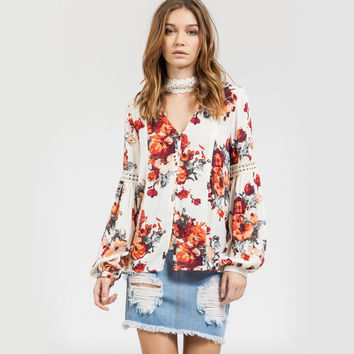 blu pepper - floral peasant sleeve spring boho top - fuchsia multi