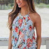 Blue Floral Pleated Tank Top