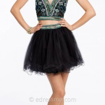 Two Piece Corset Short Prom Gown by Camille La Vie