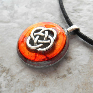 celtic knot necklace orange - mens jewelry - mens necklace - celtic jewelry - boyfriend gift - irish jewelry - unique gift - fathers day