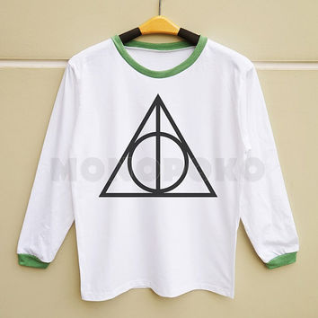 S M L -- Deathly Hallows Shirts Harry Potter Shirts Funny Shirts Women Long Sleeve TShirts Men Long Sleeve TShirts Women TShirts Men TShirts
