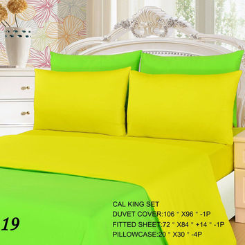 Tache 4-6 Piece Lemon Lime Yellow/Green Reversible  Duvet Cover Set
