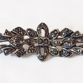 VALENTINE Sale, Marcasite Bow Brooch, Art Deco Vintage Jewelry, Gift for Her