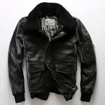 Wool collar genuine cow leather coat mans cowhide air force casual leather jacket motorcycle rider jacket