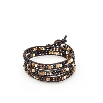 Wrap Bracelet Dark Brown Leather Cord | Brown Agate Stone