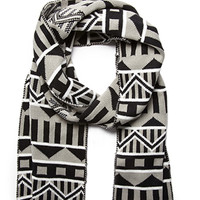 Mixed Pattern Scarf Grey/Black One