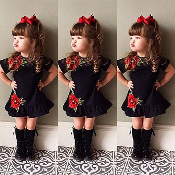 Cute Toddler Kids Baby Girls 3D Flower Summer Party Dress Sundress Clothes 0-4T