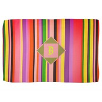 Cool Shecky colorful stripes texture with B monogr Hand Towel