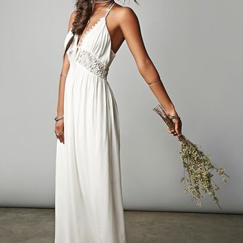 Lace Panel Halter Maxi Dress