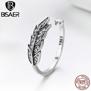 BISAER Hot Sale Anel 925 Sterling Silver Adjustable Feather Wings Open Size Finger Rings for Women Fine Silver Jewelry GXR313