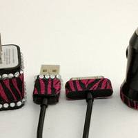 Black and pink animal print ipad wall adapter and car charger