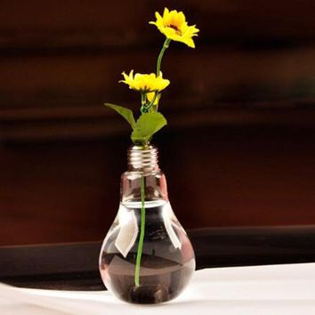 Transparent Light Bulb Glass Vase