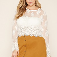 Plus Size Eyelash Lace Top | Forever 21 PLUS - 2000222108