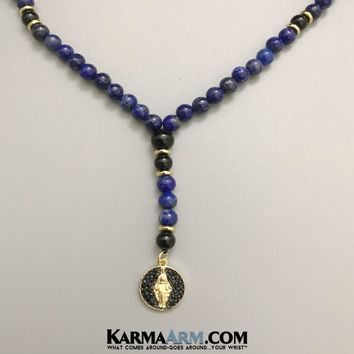 Necklace | St. Mary Rosary | Lapis | Black Onyx | Pave | Beaded Jewelry