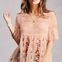 Sheer Floral Ruffle Top