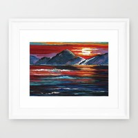 Mountain Sunset Framed Art Print by Kathleen Sartoris
