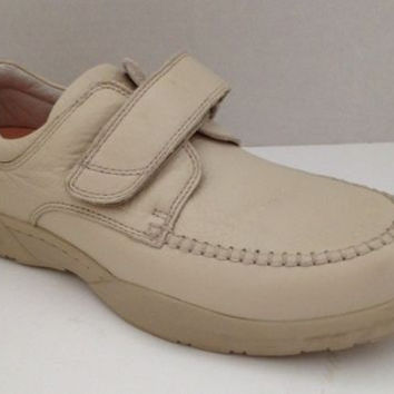 Dr Comfort Shoes Mens Size 11.5 M Beige Velcro Strap Scott Leather 11 1/2