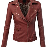 Doublju Women Long Sleeve Faux Leather ruffle sids studded Front Zipper Jacket Brick Small