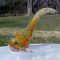 WHALE  TOTEM Spirit  AMBER and Multi Color Accented Glass PIPe hand blown
