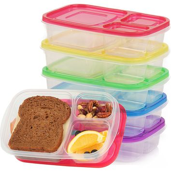 Qualitas Products Premium Kids Bento Boxes - 3 Compartments, 5 Bento Box Microwave Safe Lunch & Leftover Containers Set for Kids and Adults - Made From US FDA Approved Food Grade Plastic